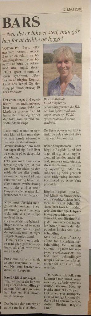 Artikel fra Vodskov Avis maj 2016.